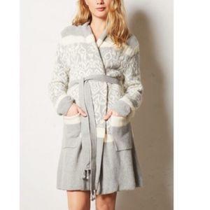 E by Eloise Intarsia Wool Cardigan Sweater Robe